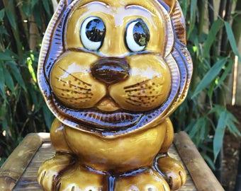 Adorable Vintage 1950's Ceramic Lion Piggy Bank Made in Japan