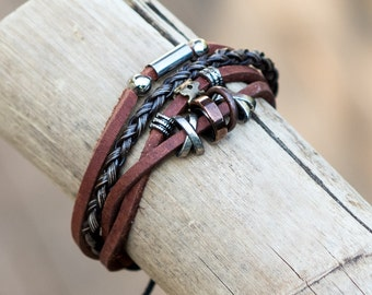 Leather Bracelet // Tribal Bracelet // Male Bracelet // Bangles Bracelet // Johnny Depp Bracelet // Leather Wristband // Hippy Bracelet