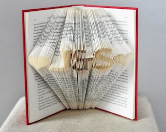 Paper Anniversary, First Anniversary, Gift for him, Gift for Her, Folded Book Art