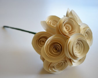 Ivory Wedding Bouquet, Paper Flower Bouquet With Stems, Paper Card Stock Flowers