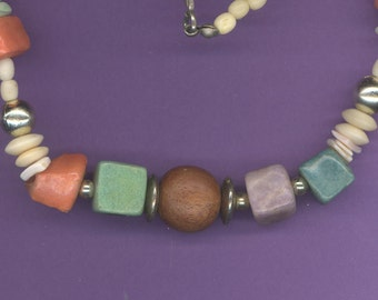 """Vintage love beads wood and bone 30"""" long free shipping"""