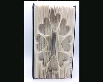 Folded Book Art- Heart Ring-  Christmas - Valentines Gift - Love