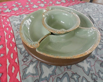 California Pottery Green and Gold Lazy Susan