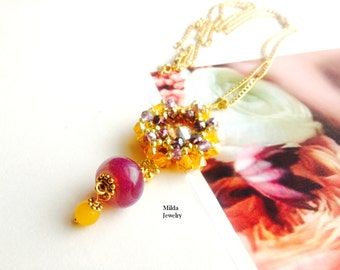 Handmade beaded women necklace, artisan beadwork jewelry, statement necklace, seed bead necklace, pendant necklace, yellow, purple crystal
