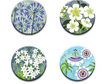 A pack of 4 Alison Bick Artist coastal garden flowers design Pattern weights fabric weights