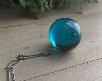Marble Necklace - Blue Glass Marble - Orb Necklace - Boho Jewelry - Wedding Necklace - Vintage Necklace - Soldered Jewelry