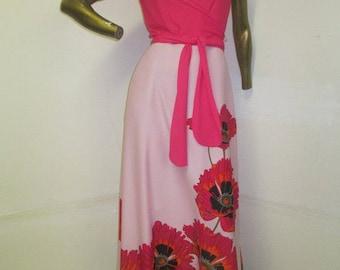 vintage 70s SHAHEEN floral art print maxi dress,a saucier look yet still so refined