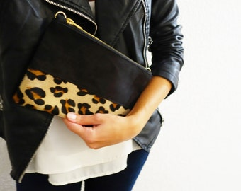 Leopard print calfskin leather pouch