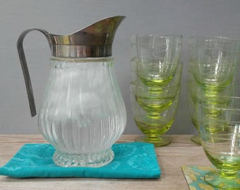 Vintage Italian Ribbed Glass & Silver-rimmed Water Pitcher