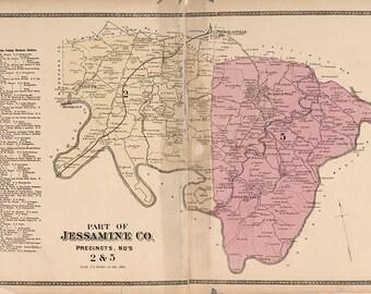 1877 Map of Southern Jessamine County Kentucky
