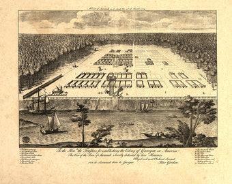 1734 Panorama Map of Savannah Georgia