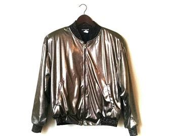 1980s metallic gold disco club kid music festival slinky bomber jacket