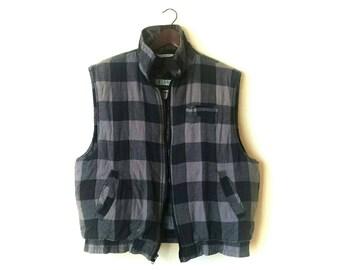 Vintage 1990s plaid flannel grunge hipster vest