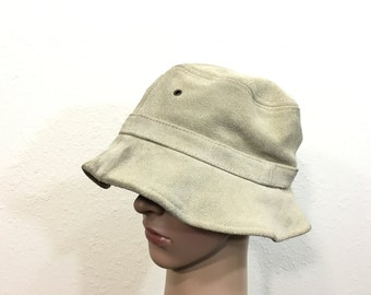 90's suede leather bucket hat size 7 1/4