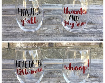 A&M Wine Glasses // Stemless Wine Glasses Set of 4 // Home of the 12th Man // Gig'em // Howdy // Whoop // Aggies // College Wine Glasses