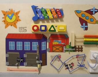 "Busy Board ""Farm"", Activity Board, Sensory Board, Montessori educational Toy, Wooden Toy, Fine motor skills board for toddlers & babies"