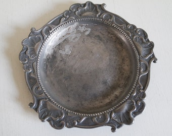 Vintage Germany XVIIIth century rococo pewter/tin plate