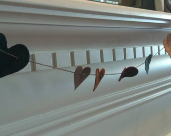 Leather Heart Garland