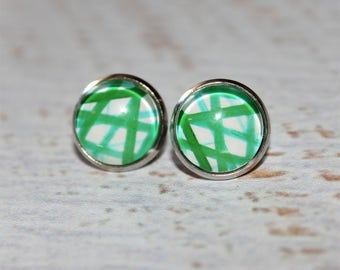 Round Glass Cabochon Stud Earrings 12mm Green Stripe Hypo Allergenic Surgical Steel Nickel Free