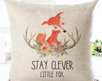 Woodland Critter Fox Watercolour Nursery Decor Cushion Cover Cotton Blend Hessian Look