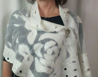 HANDMADE ivory - nuno felt scarf, felted wrap with FELT FLOWER clip made with silk (wedding wrap)