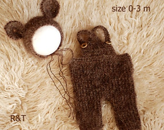 Newborn baby knit set, Knit baby pants, Knit baby hat,Photo prop, mohair, Vintage newborn pant, Vintage newborn hat little Bear