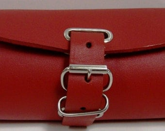 Handmade Leather Bicycle Bike Handlebar Seat Bag With Buckles Red NEW