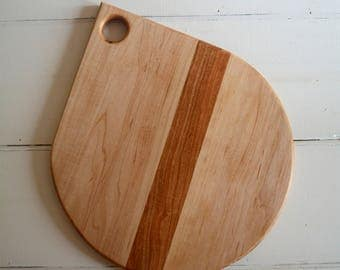 Tear Drop Shaped Wood Cutting Board Serving Tray Handmade with Maple Cherry Wood Kitchen Utensil