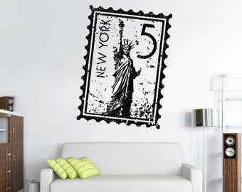 rvz2713 Wall Decal Vinyl Decal Sticker Postage Stamp New York City Town Statue