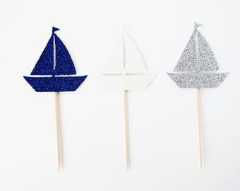 Sailboat Cupcake Toppers - Set of 12 - Nautical Party