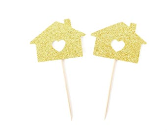 Housewarming Party Cupcake Toppers - Set of 12