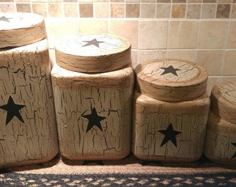 Primitive Crackle Painted Tan With Black Stars Glass Canisters, Set Of 4  Country Farm Kitchen