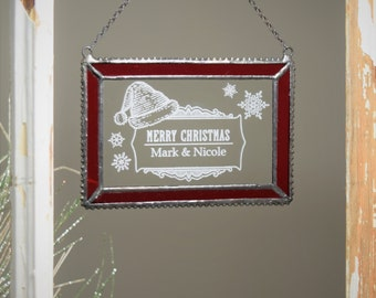 Personalized Christmas Ornament with Red stained glass boarder- ORN 266-1 EO110