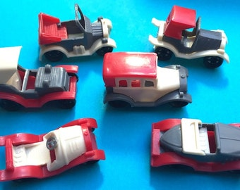 6 Old Fashioned 4.5cm Toy Cars- all Different - Old Warehouse Find