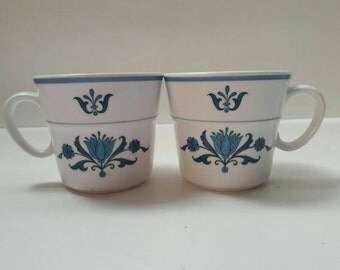Vintage Noritake Progression Blue Haven 9004 White with Blue Flowers, Set of Two (2), Flat Cups, Replacement, Tea Cups