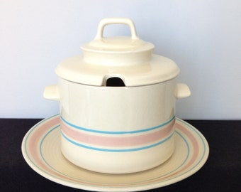 McCoy Pink and Blue Striped Soup Tureen with Underplate