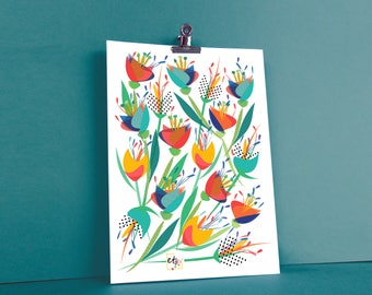Displays chart pop and colorful, floral illustration, Tulip red, blue, yellow, green and black peas