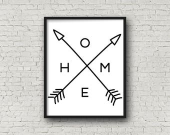 HOME, INSTANT DOWNLOAD, Home Print, Tribal Arrows, Arrow Wall Decor, Home Decor, Home Decor Signs, Home Decor Wall Art, Printable Sign, Art