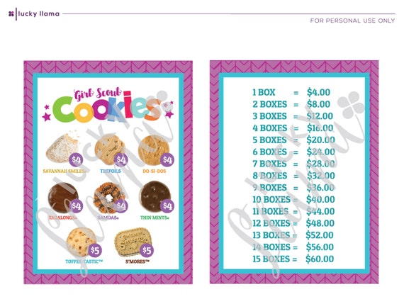 2017 girl scout cookie lanyard printable