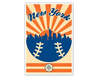 New York Baseball Vintage Poster