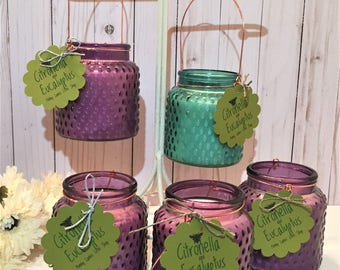 Citronella, Eucalyptus & Lemon Oil Soy Candle – Outdoor Hanging Candle