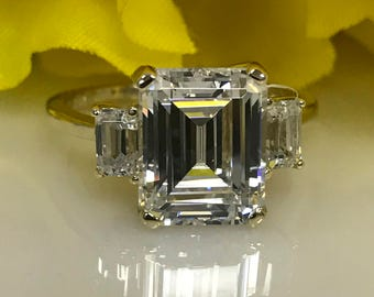 Emerald Cut Three Stone Engagement Wedding Anniversary Promise Ring 4.50 ctw.ctw Solid 14K Yellow Gold  #4932