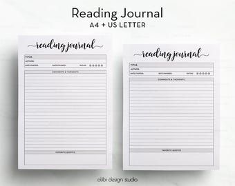 Reading Journal, A4 Printable, Reading List, Books Printable, Reading Log, A4 inserts, Book Planner, Reading Tracker, Printable Planner