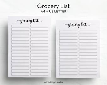 Grocery List, A4 Printable, Shopping Tracker, Grocery List Printable, Shopping List, To Do List, A4 Inserts, Printable Planner, A4 Journal