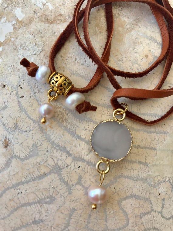 Bohemian necklace, druzy choker, leather cord, brass clasp, vegan option