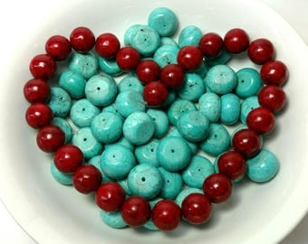 Howlite Turquoise Rondelle & Red Round Beads
