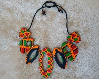 African Kente Fabric Statement Necklace with Subtle Bead Accents