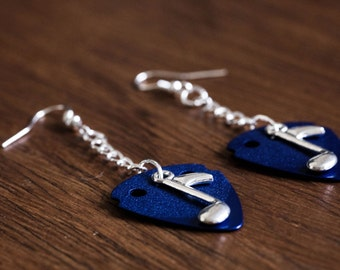 Guitar Pick Earrings (Blue)