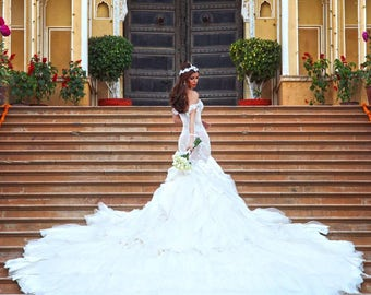 Steph Audino, CUSTOM MADE, Size 8 Wedding Dress