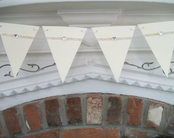 Wedding Banner, Paper Garland in Ivory with Silver and Gold Ribbon, Christmas Banner, Pennant Banner, Ivory Wedding Garland, Paper Bunting